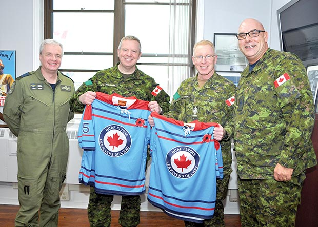 2 CMBG leadership presented with RCAF Flyers jerseys 3ddb22f4f3c