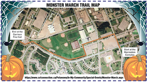 Map of the Monster March with Jack-o-Lanterns and spider webs