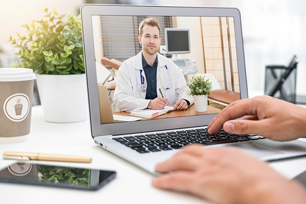 Stock photo, doctor on laptop screen